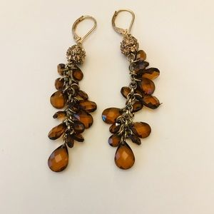 Jewelry - 3 for $10 / Amber brown + gold beaded earrings